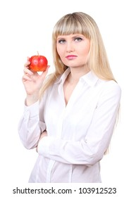 Young woman with apples isolated on white