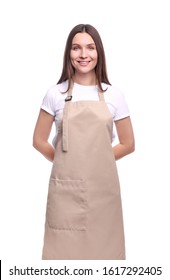 Young woman in apron isolated on white background