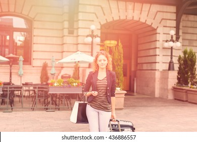 Young woman arrived to Union Station in Denver, Colorado.
