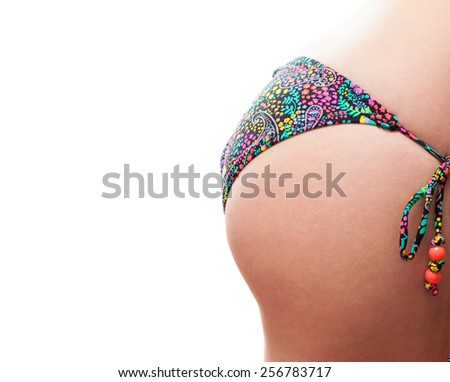 Young Woman Ass On A White Background Closeup