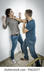 A young woman is attacked by a man