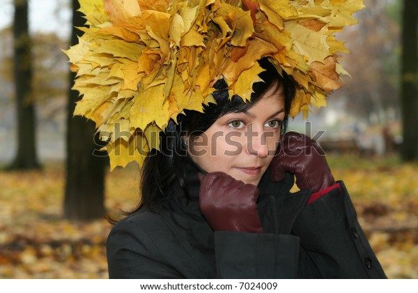 young woman and autumn