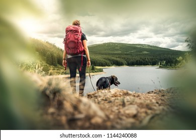 young woman with backpack and german shepherd dog puppy standing on mountain in front of forest and lake