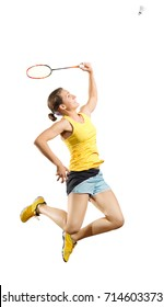 Young woman badminton player isolated (ver with shuttlecock)