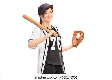 Young woman in a baseball jersey holding a baseball bat and smiling isolated on white background