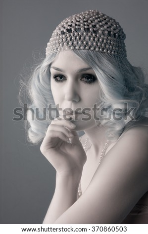 bf408db2f91 Young Woman Beaded Flapper Hat Blond Stock Photo (Edit Now ...
