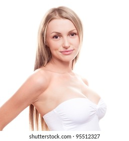 young woman with beautiful breast, isolated against white background