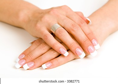 Young woman with beautiful long nails