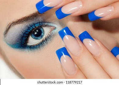 young woman with beautiful nails