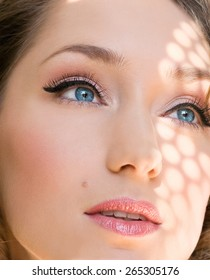 Young woman with beautiful spring makeup.