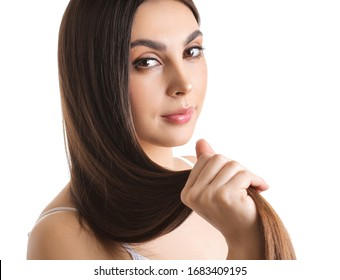 Young woman with beautiful straight hair on white background
