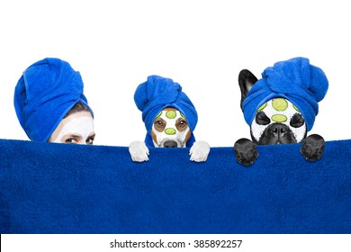 young woman   with beauty facial cream mask on face  with  couple of dogs isolated on white background