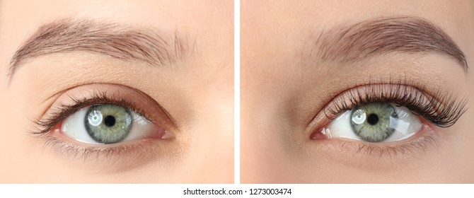 Young woman before and after eyelash extension procedure, closeup
