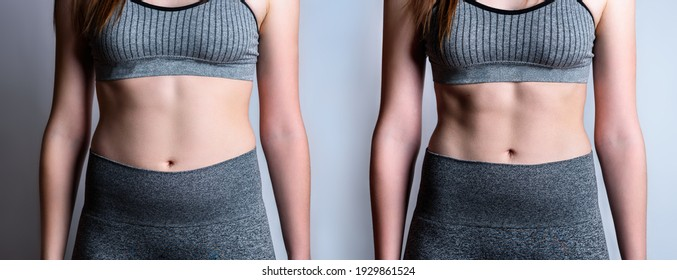 Young woman before and after loosing fat on gray background.