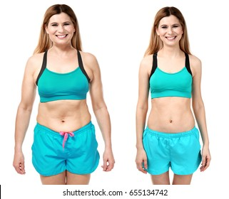 Young woman before and after weight loss on white background
