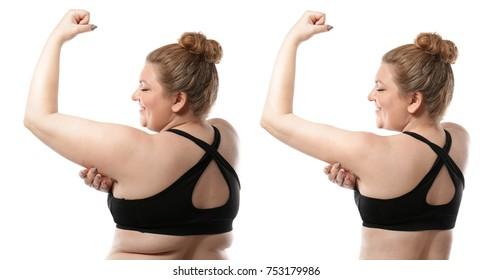 白い背景に痩せる前と後の若い女性。医療と食事のコンセプト