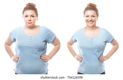 Young woman before and after weight loss on white background. Health care and diet concept