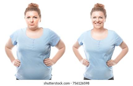 Jeune femme avant et après la perte de poids sur fond blanc. Santé et régime alimentaire