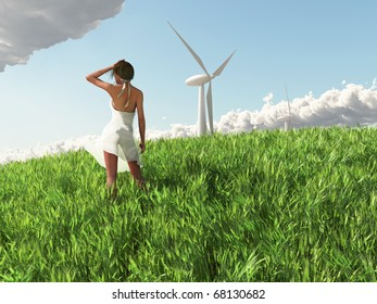 young woman before a wind turbine