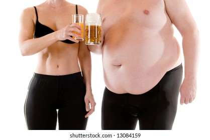 Young woman beneath a very fat man
