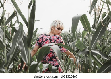 Young woman between green leaves in a corn field in summer