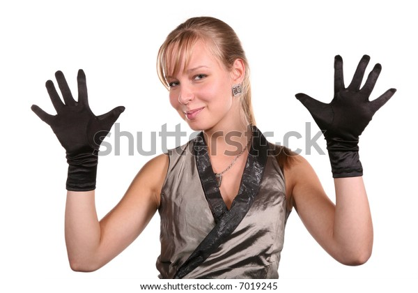young woman in black gloves