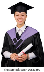 Young woman in black graduation gown hold certificate of degree. Isolated over white background.