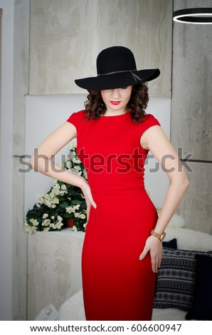 Young Woman Black Hat Red Dress Stock Photo (Edit Now) 606600947 ... 1af13d24cf8