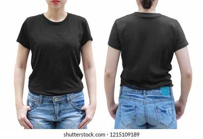 Young woman in black shirt on white background. with clipping path