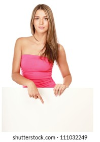 Young woman with blank board banner ,isolated on white background