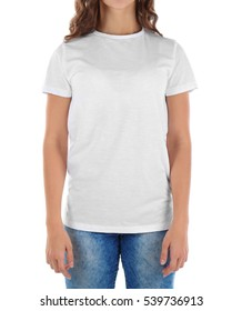 Young woman in blank t-shirt on white background, close up