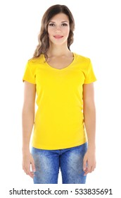 Young woman in blank yellow t-shirt on white background