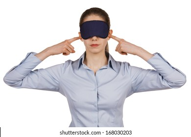 Young woman with a blindfold on white background