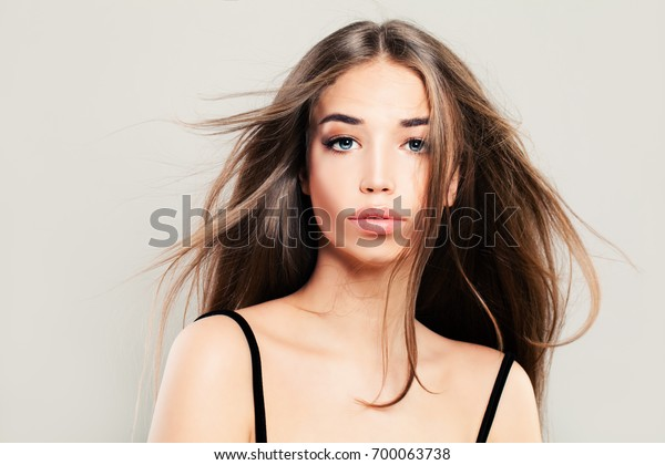 Young Woman Blowing Hair Pretty Woman Stock Photo Edit Now 700063738