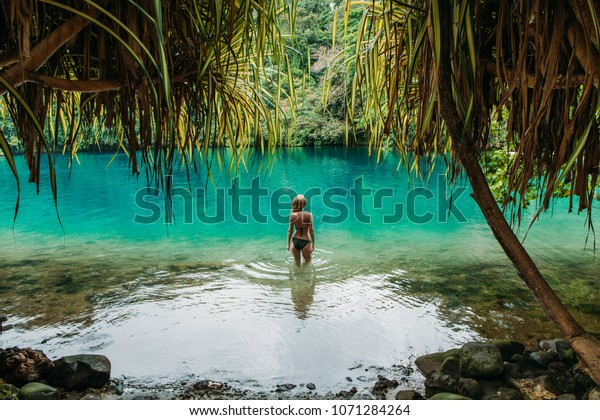 Young Woman Blue Lagoon Jamaica Stock Photo Edit Now
