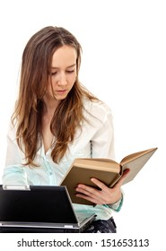 young woman with book and laptop on white background