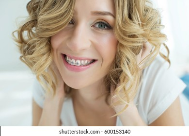 Young woman in braces