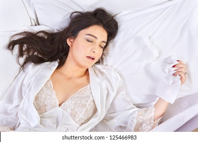 Young woman breathing through her mouth while sleeping when she got flu