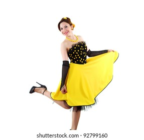 young woman in bright colour dress in 60's style