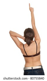 young woman in brown bra pointing up
