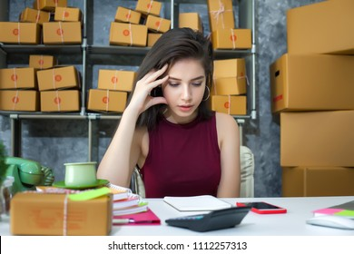 Young woman business entrepreneur, Unhappy of work , Failure in business.