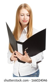 Young woman in business style look in wide-eyed astonishment at documents in black folder isolated on white background