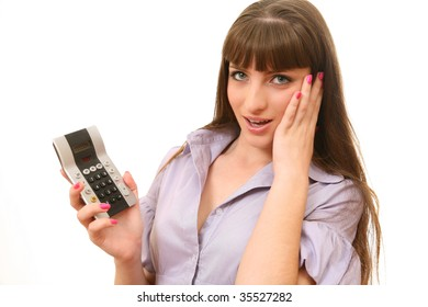 The young woman with the calculator