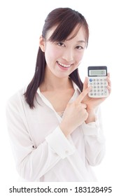young woman with calculator, isolated on white background