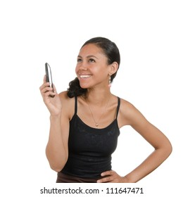 Young woman calling on the phone with different facial expressions. Body language. Happy, surprised, open, confused. Isolated on white .