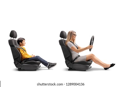 Young woman in a car seat driving her son isolated on white background