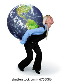 Young woman carrying the earth on her back isolated over a white background.