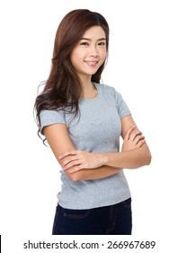 Young woman in casual attire looking and smiling