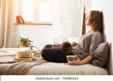 Young woman with a cat  lying in bed at home.  Winter or autumn weekend concept. Woman reading book and drinking tea in the bedroom.