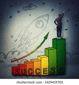 Young woman celebrate raising hand on the top of a chart graph as stairs with arrow going up. Stairway to success, professional startup growth and achievements concept and a rocket launch take off.